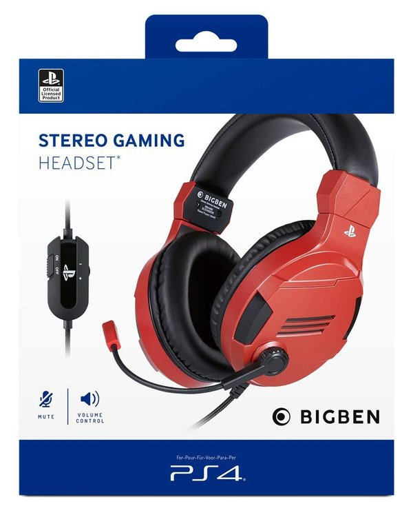 Stereo Headset V3  red [Offizielle Playstation Lizenz] - PlayStation 4