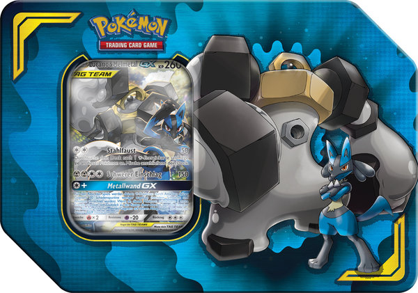 Pokemon TAG TEAM Lucario & Melmetal-GX Tin Box - deutsch - Vorverkauf